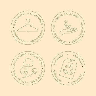 Flat design slow fashion badge collection