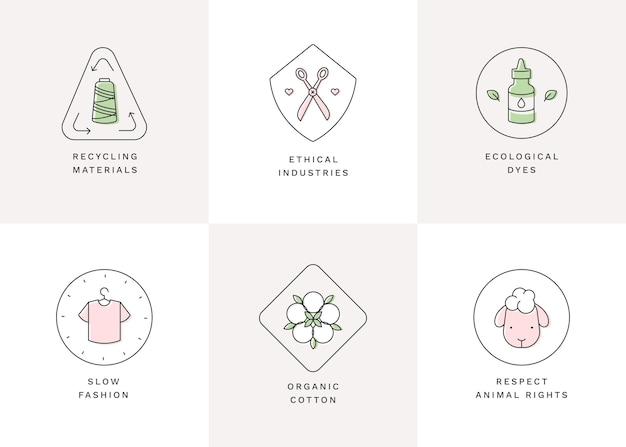 Pacchetto distintivo di moda lenta design piatto