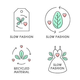 フラットデザインのスローファッションバッジパック
