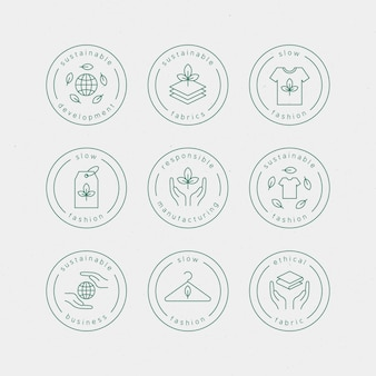 Flat design slow fashion badge set