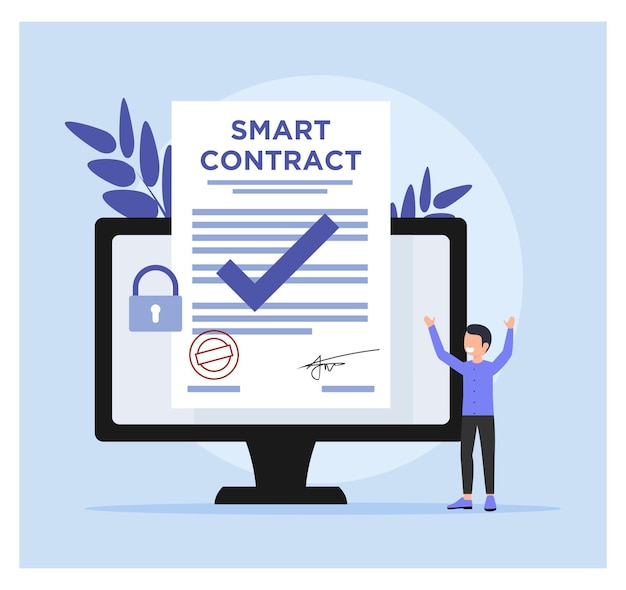 Flat design of smart contract concept