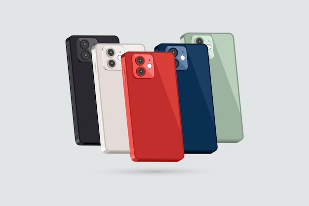 Flat design smartphone in different colors