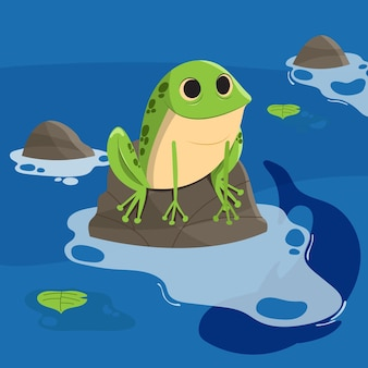 Flat design smiley frog for coloring