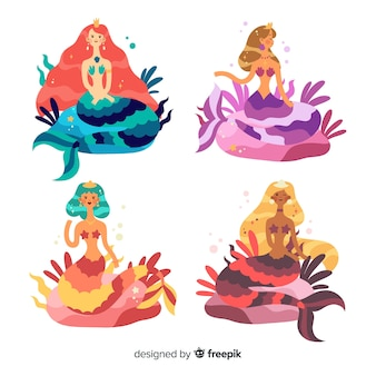 Flat design smiling mermaid collection