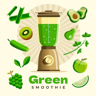 Flat design smoothies in blender glass