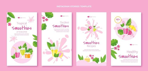 Плоский дизайн смузи instagram рассказы