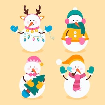 Плоский дизайн коллекции символов снеговика