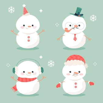 Flat design snowman character collection