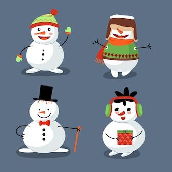 Collezione di personaggi pupazzo di neve design piatto