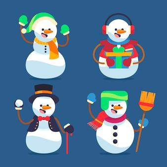 Плоский дизайн коллекции персонажей снеговика