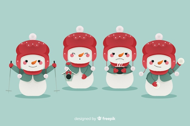 Flat design snowman character set