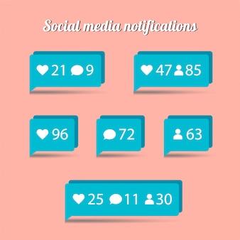 Плоский дизайн уведомлений в социальных сетях. сообщение чата, как, последователь, значок сердца.