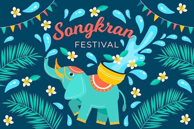 Flat design songkran concept