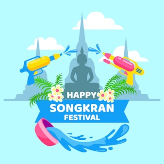 Evento songkran dal design piatto