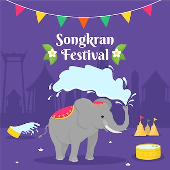 Celebrazione del festival songkran design piatto