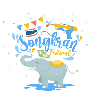 Flat design songkran festival day