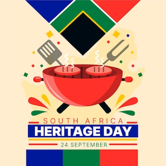 Concetto di giorno di eredità del sudafrica design piatto