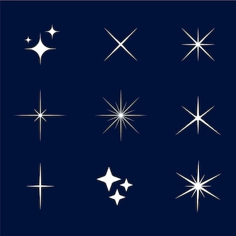 Collezione di stelle scintillanti dal design piatto
