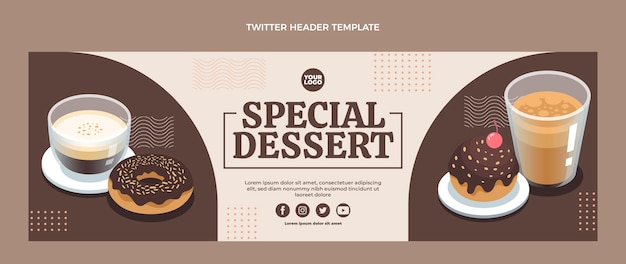 Flat design special dessert twitter header