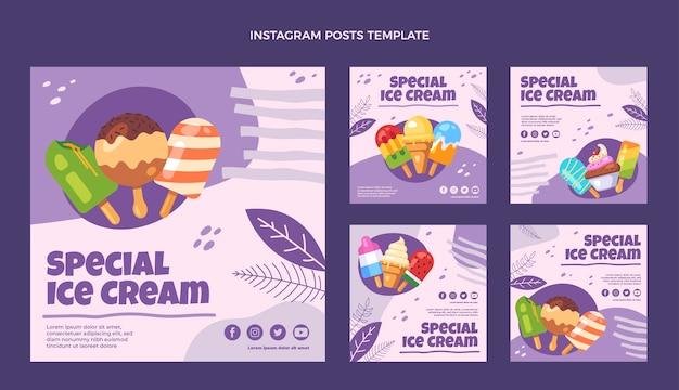 フラットデザインの特別なアイスクリームのinstagramの投稿