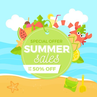Flat design special offer of summer sales