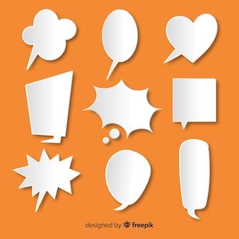 紙のスタイルでフラットなデザインの音声バブルコレクション