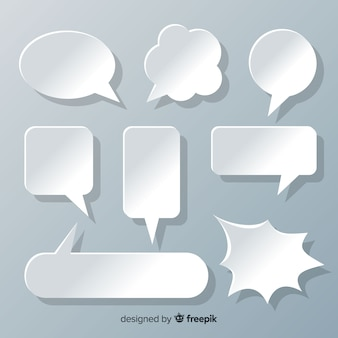 Flat design speech bubbles in paper style collection