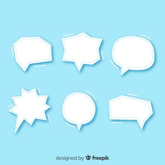 Flat design speech bubbles in paper style pack