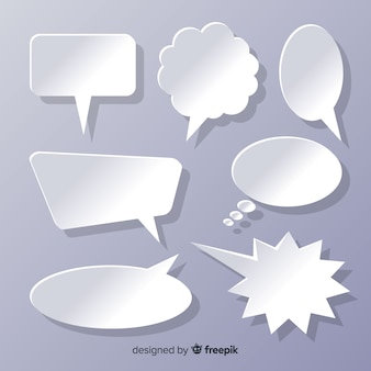 Flat design speech bubbles in paper style set