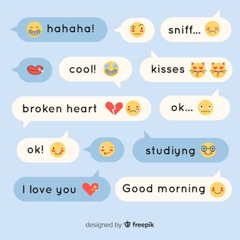 Flat design speech bubbles with emojis and expressions