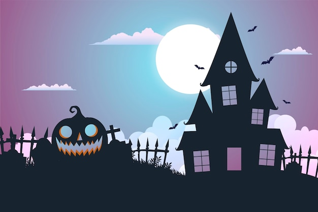 Плоский дизайн жуткий хэллоуин фон