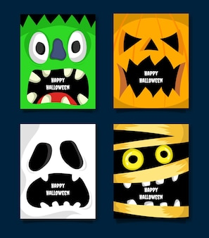 Flat design of spooky halloween character scream background collection vector illustration
