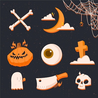 Flat design spooky halloween elements