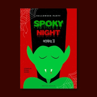 Flat design spooky halloween party poster with vampire