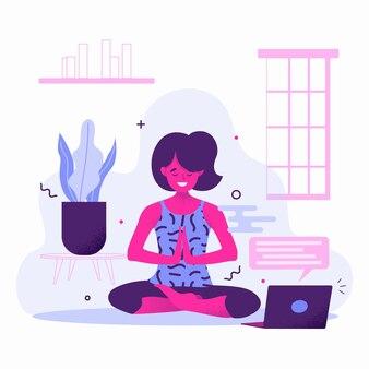 Giornata di yoga di design piatto sport class