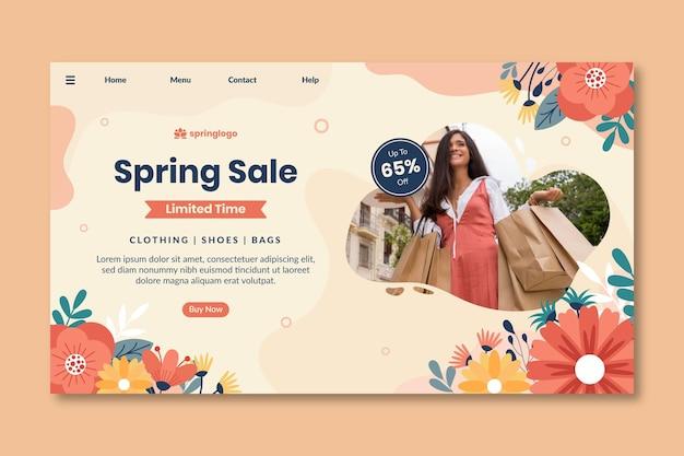 Плоский дизайн весны и модельного шаблона целевой страницы