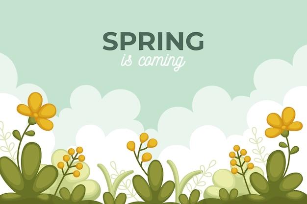 フラットなデザインの春の背景と野の花