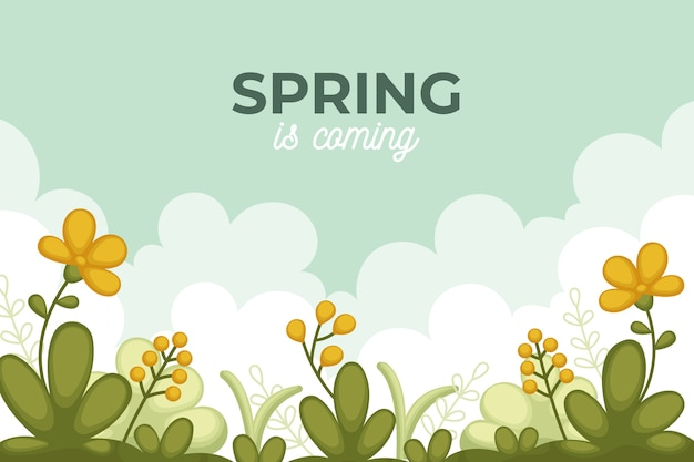 Flat design spring background and field flowers