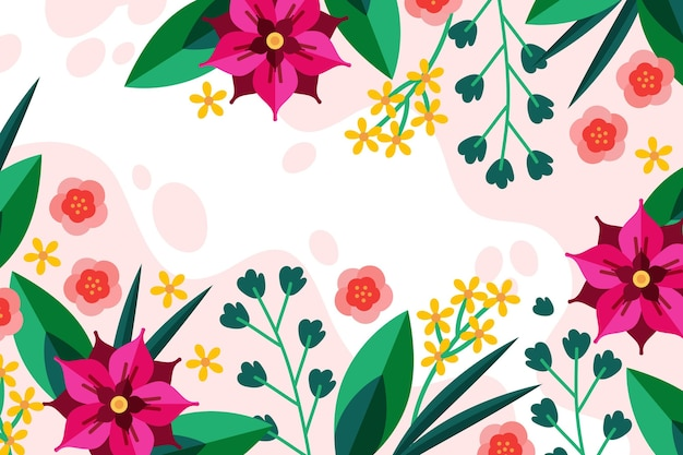 Flat design spring background with beautiful flowers
