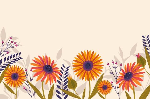 花とフラットなデザインの春の背景