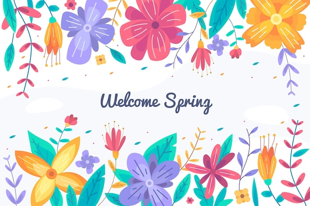 Sfondo di primavera design piatto