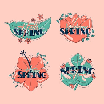 Flat design spring badge collection