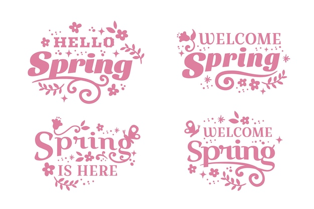 Flat design spring badge pink lettering
