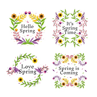 Flat design spring badge with flowers and leaves