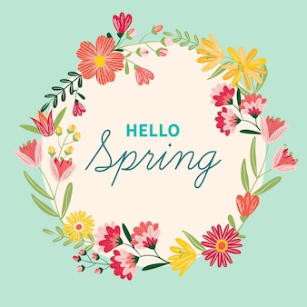 フラットなデザインの春咲く花のフレーム