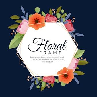 Flat design spring colourful floral frame