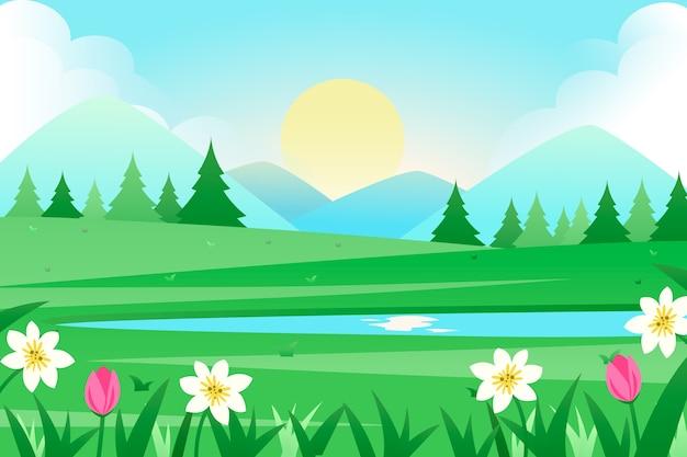 風景のフラットなデザインの春のコンセプト