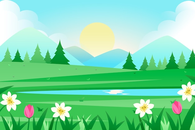 Flat design spring concept for landscape