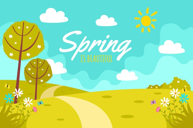 Flat design spring design for background