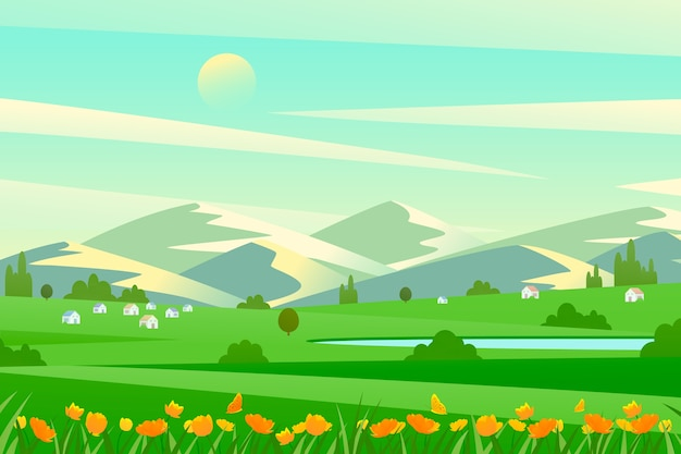 Flat design spring design for landscape